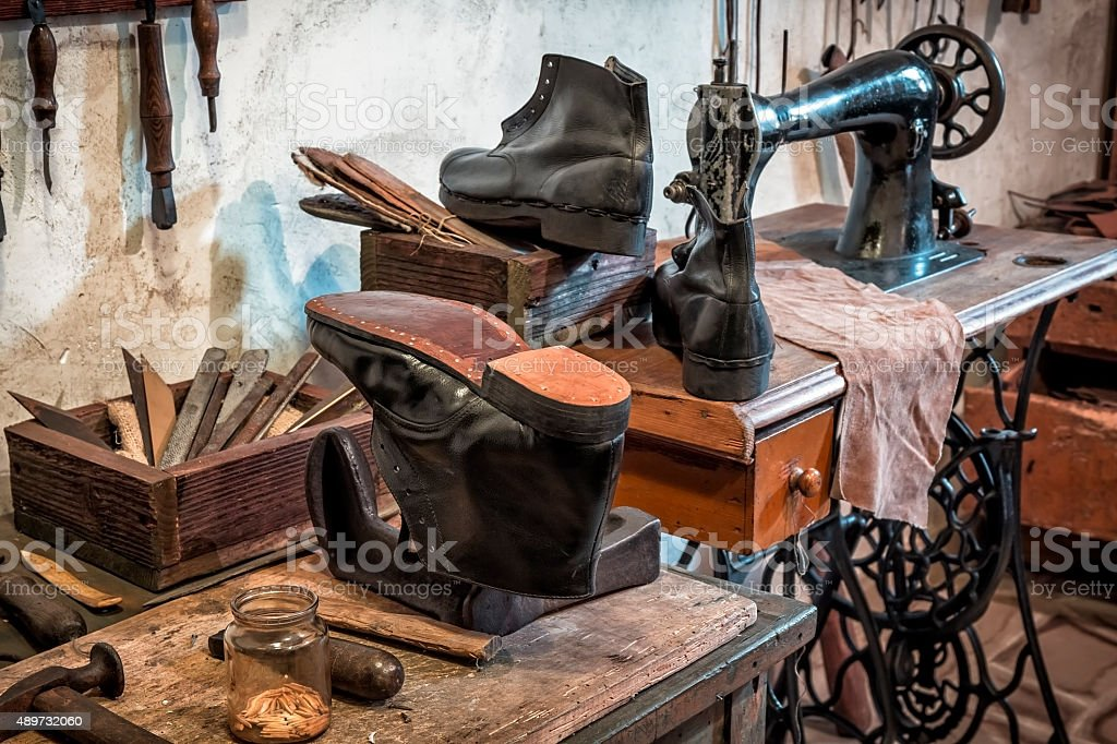 Rural shoemakers workshop stock photo