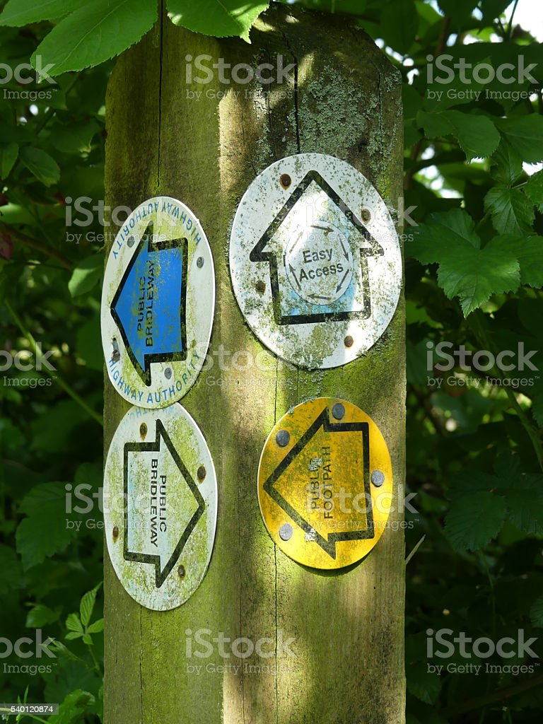 Rural signpost, footpath, disabled access, bridleway stock photo
