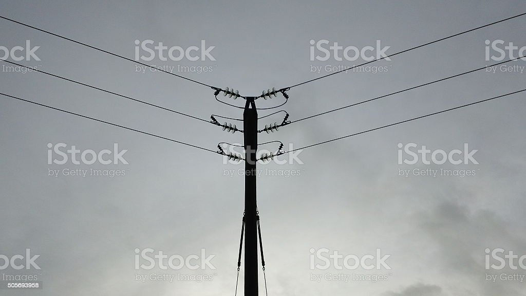 Rural, small-scale power lines stock photo