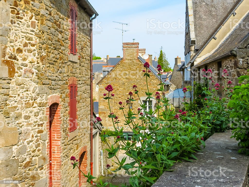 Rural street in Brittany, France stock photo
