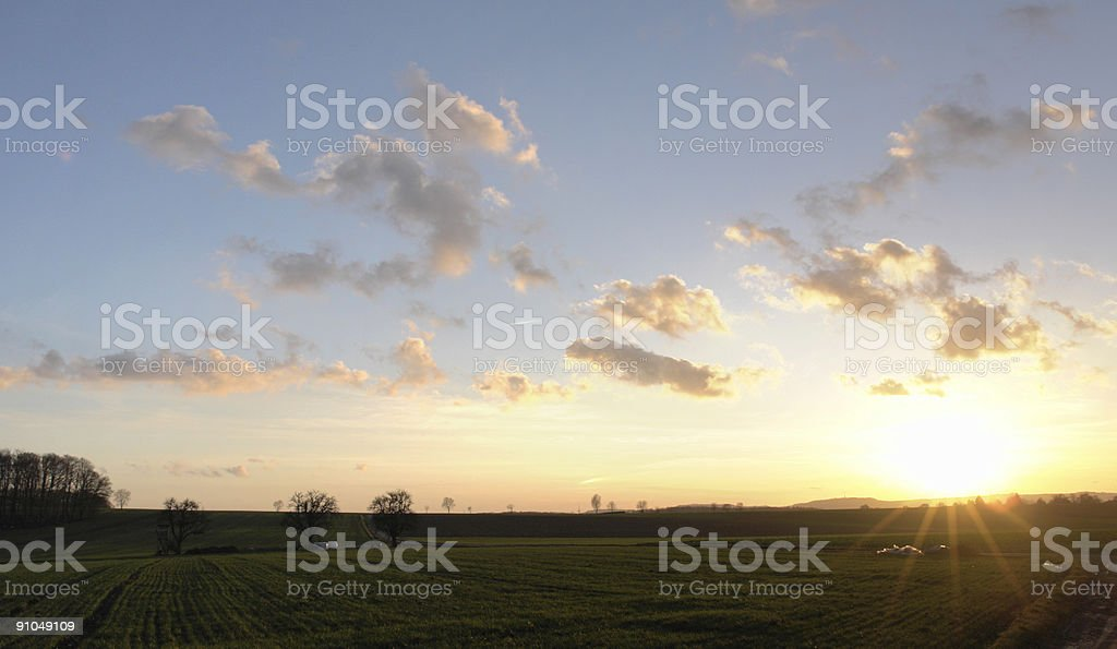 rural sundown in Hohenlohe royalty-free stock photo