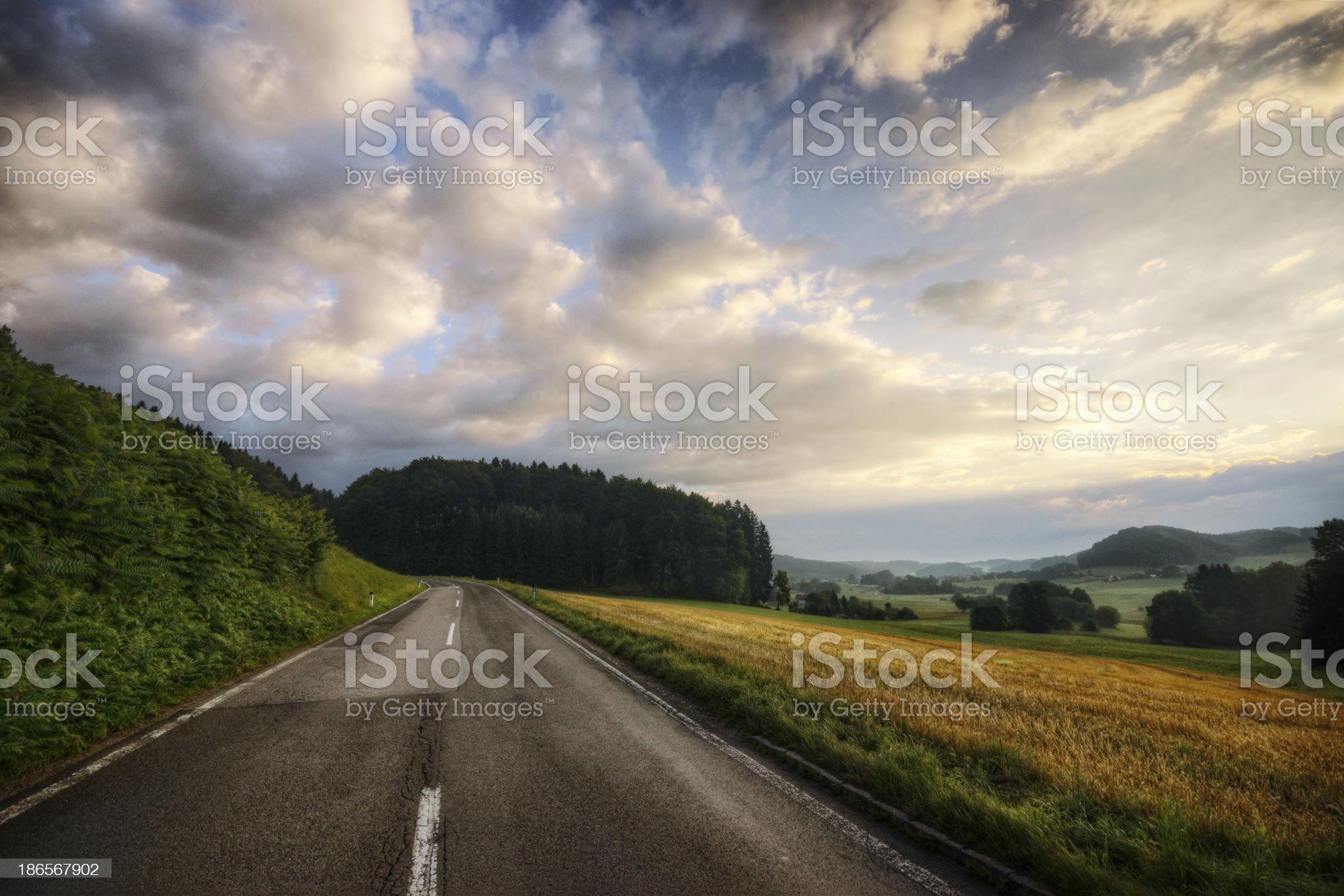 Rural Sunrise Road royalty-free stock photo