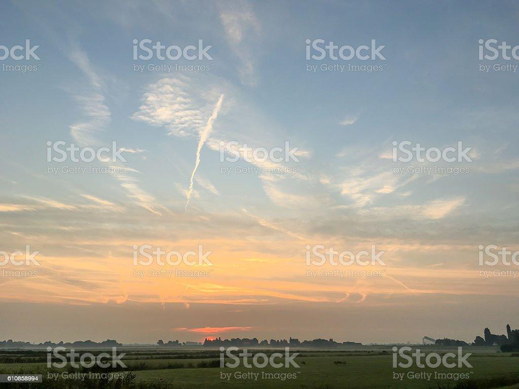Rural sunset. stock photo