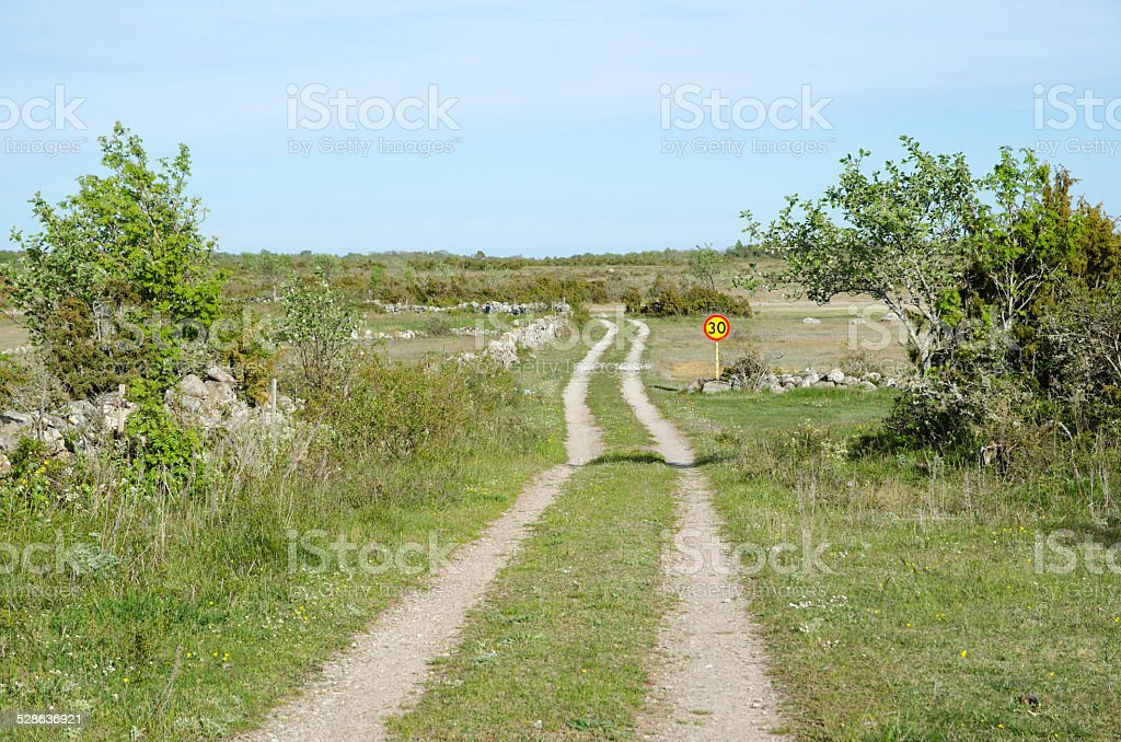 Rural tracks with speed limit road sign stock photo