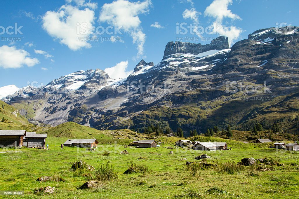 Rural traditional houses in the middle of Switzerland stock photo