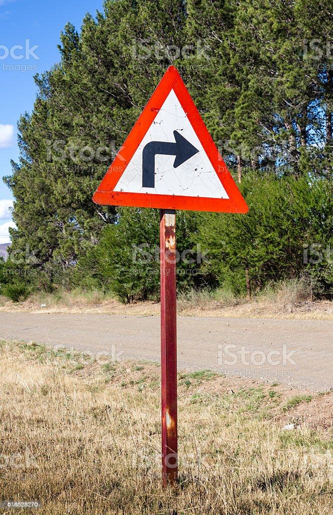 Rural turn sharp right traffic sign stock photo