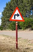 Rural turn sharp right traffic sign