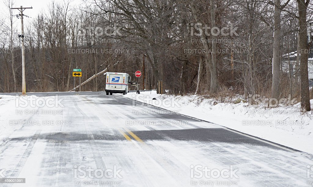 Rural US Postal Service Delivery stock photo