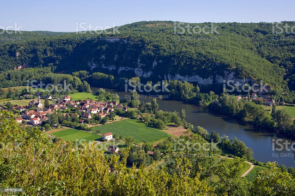 Rural valley village and river, St Martin Labouvel, Lot, France stock photo