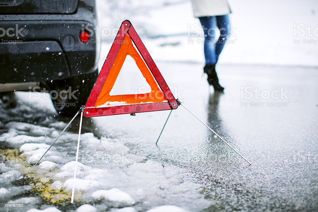 Rural vehicle breakdown in the snow storm royalty-free stock photo