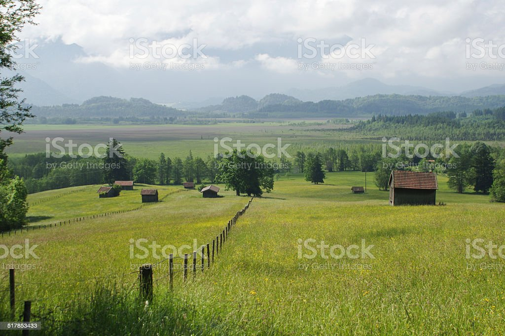 Rural view with meadow and mountains stock photo