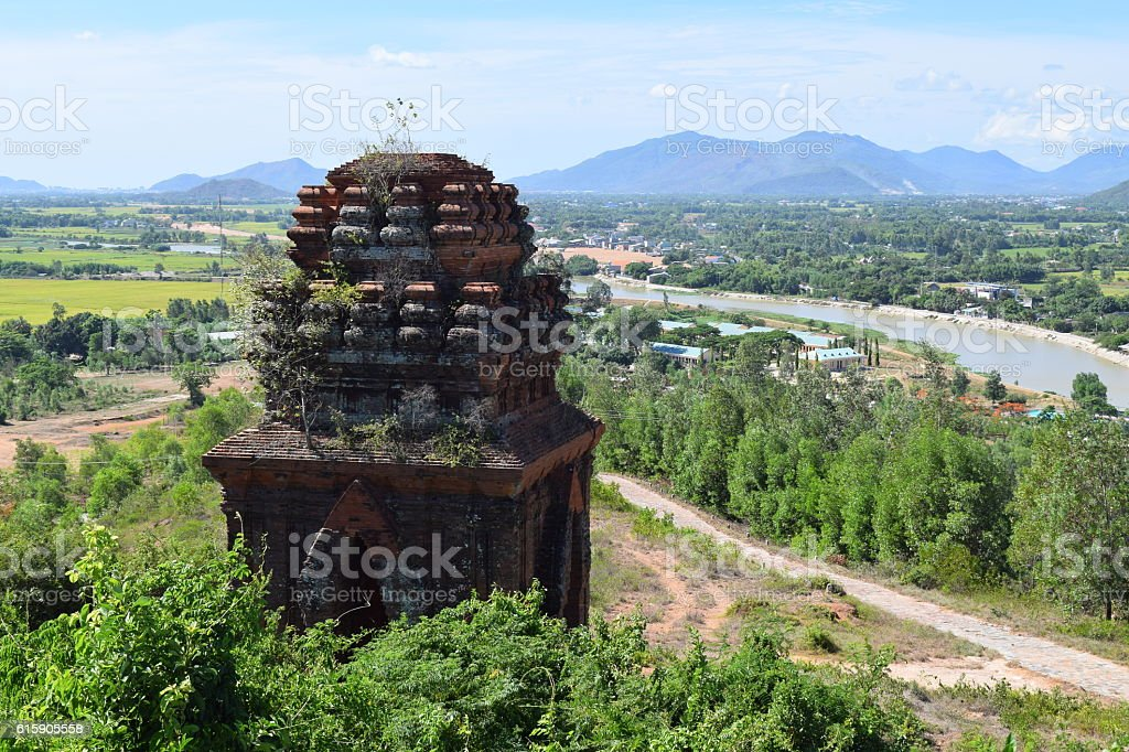 rural village and cham tower in vietnamese countryside stock photo