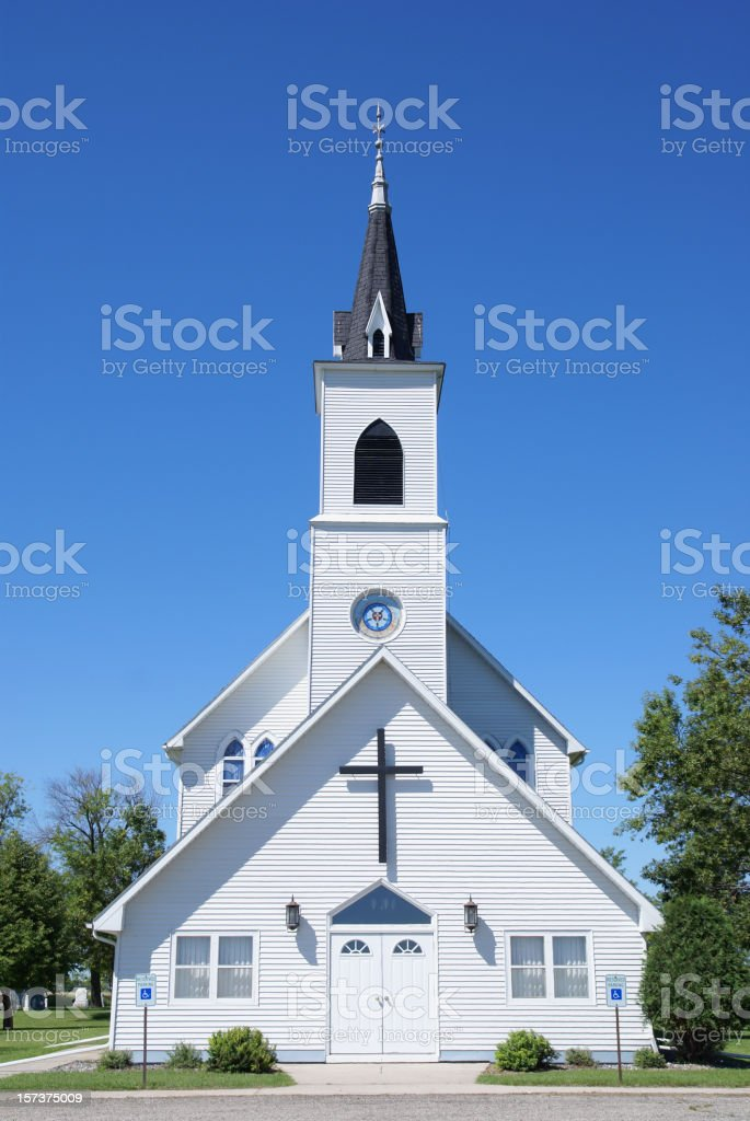 Rural Vintage White Church in North Dakota stock photo