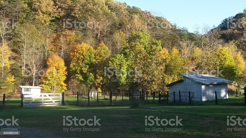 Rural Virginia Farm Scene In Autumn stock photo