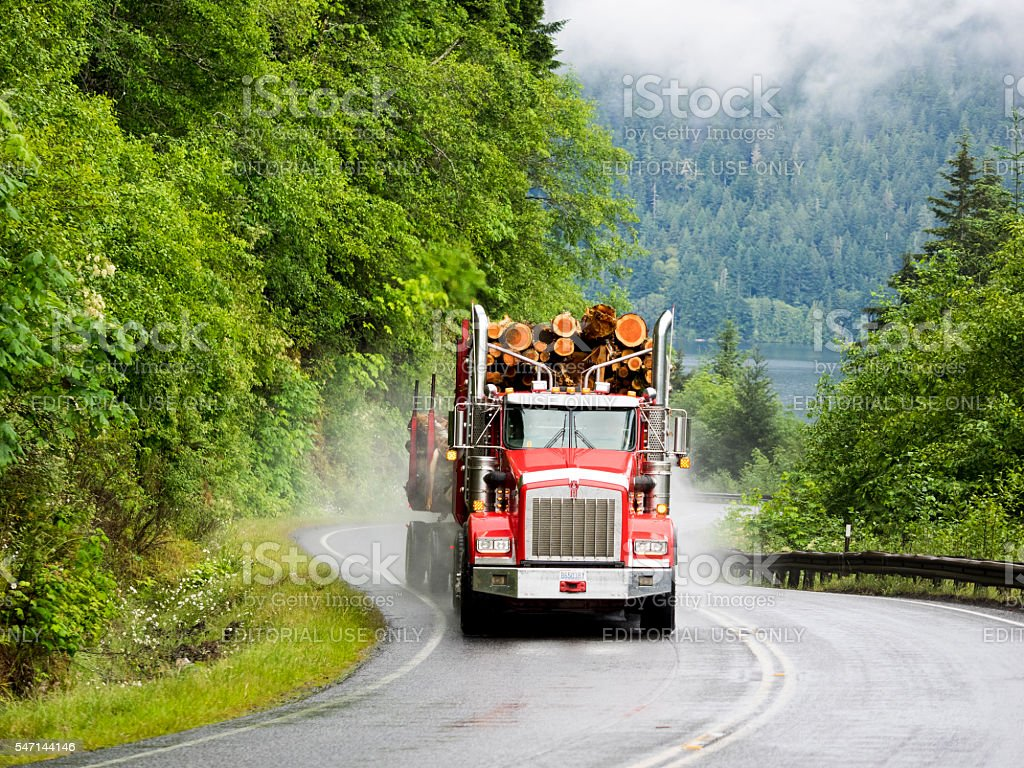 Rural Washington State Road with Loaded Log Truck Port Angeles stock photo
