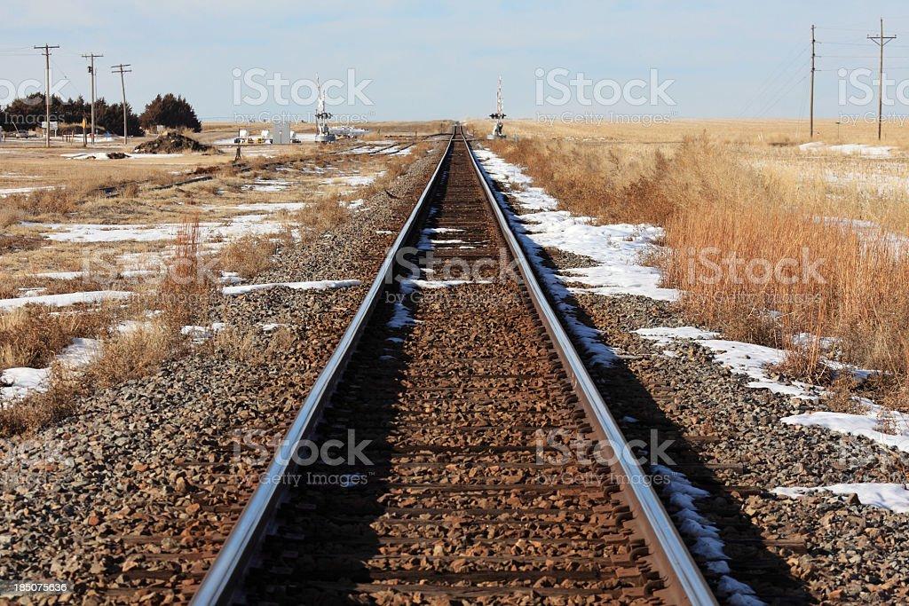 Rural winter railroad royalty-free stock photo