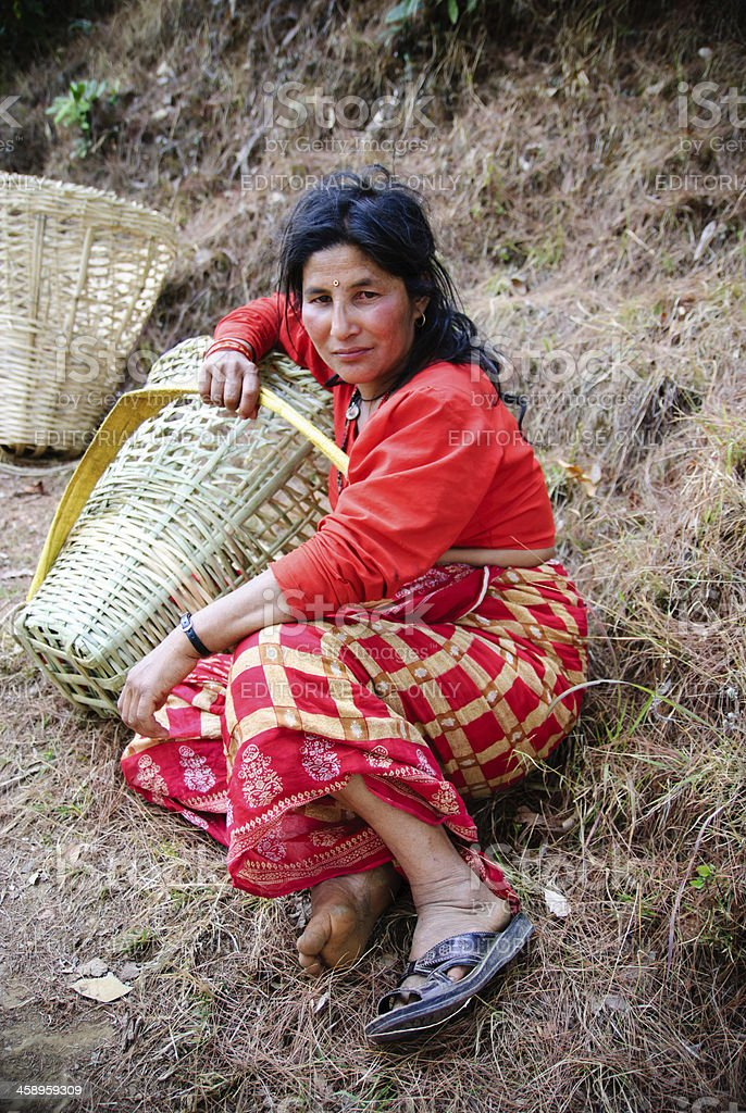 Rural woman from Nepal stock photo