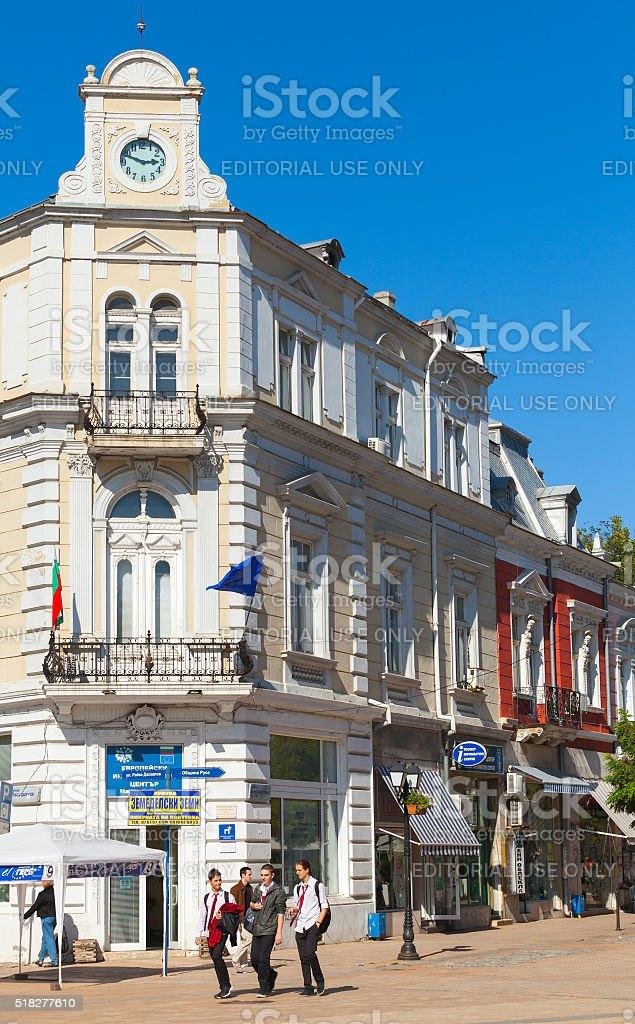 Ruse, first private bank 'Girdap', town's clock stock photo