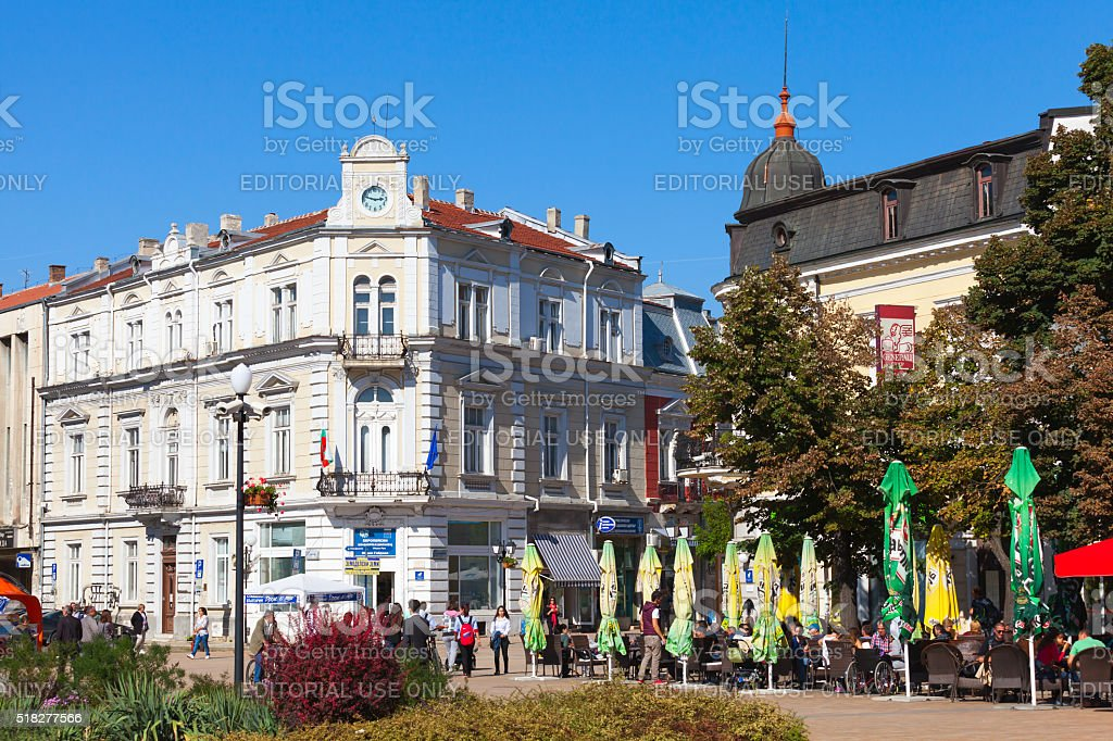 Ruse, street view with ordinary citizens stock photo