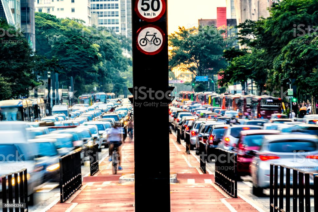 Rush hour at Paulista Avenue stock photo