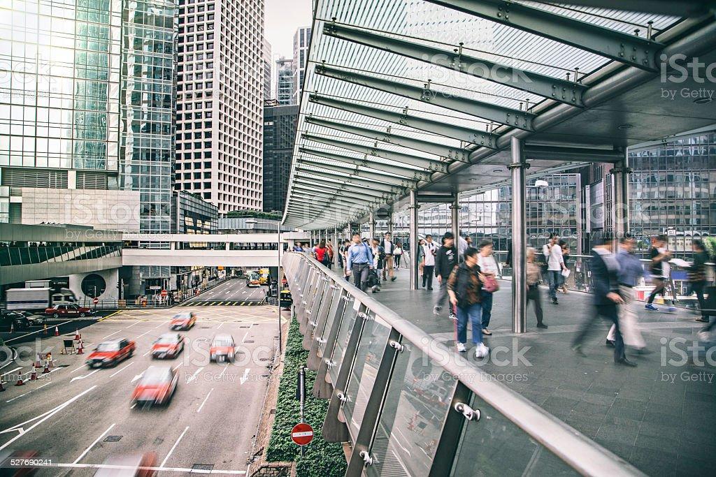 Rush hour at the financial district of Hong Kong stock photo