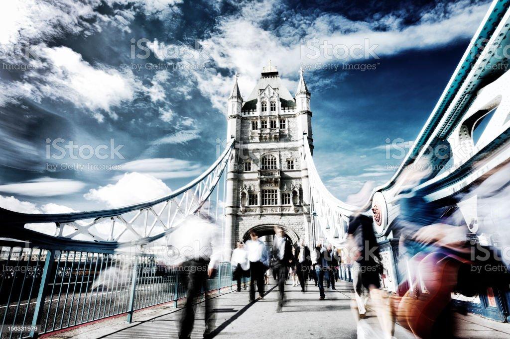Rush hour at Tower Bridge royalty-free stock photo