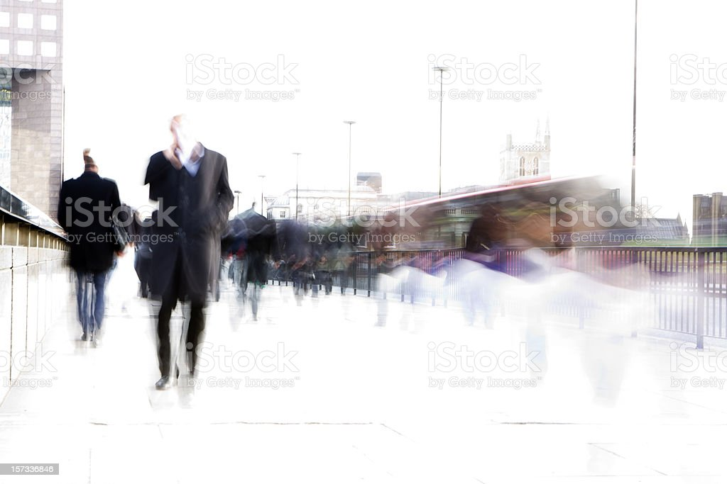 rush hour: high key creative blur of London business commuters royalty-free stock photo