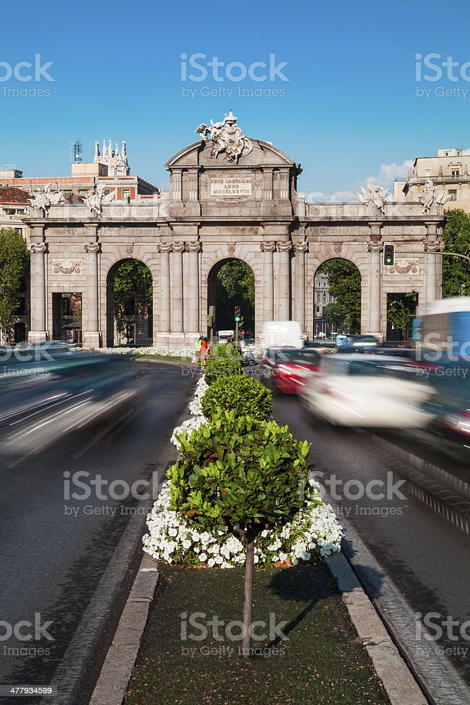 Rush Hour in Alcala Gate, Madrid royalty-free stock photo