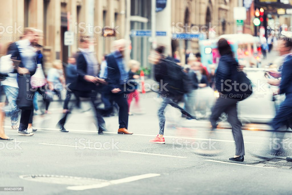 Rush hour in business district stock photo