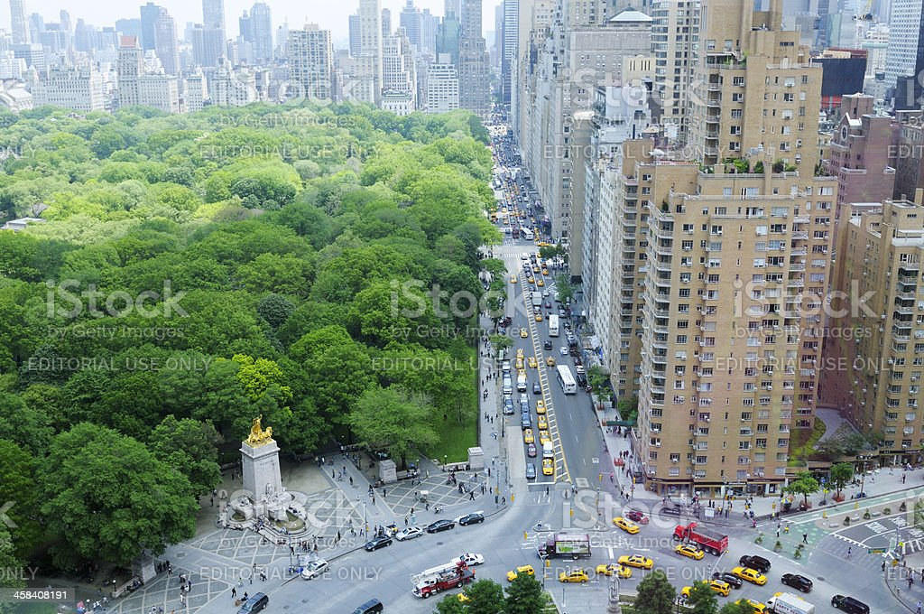 Rush Hour in Columbus Circle,Central Park,NYC stock photo