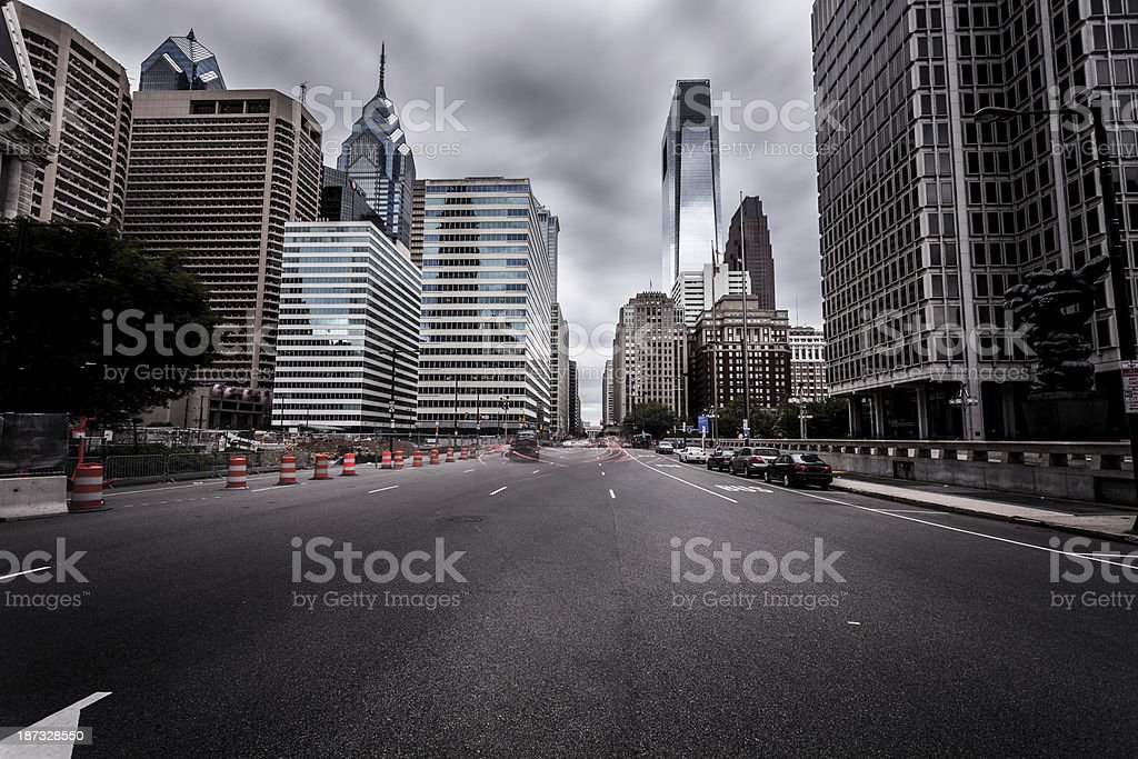 Rush Hour in Downtown Philadelphia, Long Exposure, USA royalty-free stock photo