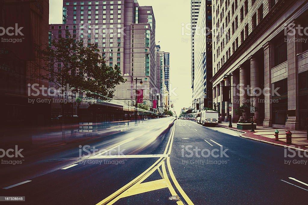 Rush Hour in Philadelphia, Long Exposure, USA royalty-free stock photo