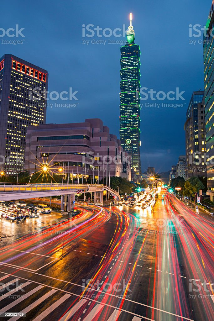 Rush hour in Taipei stock photo