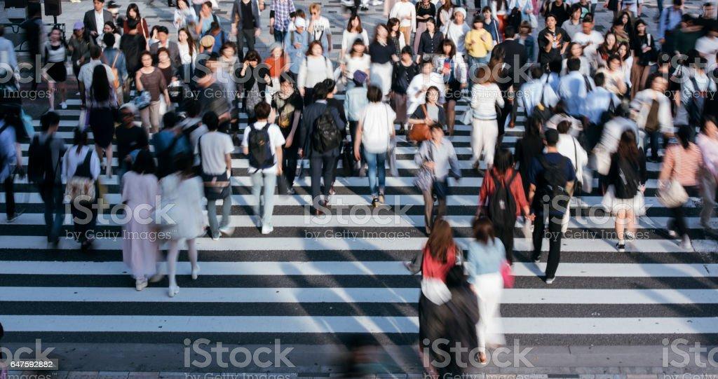 Rush hour in Tokyo stock photo
