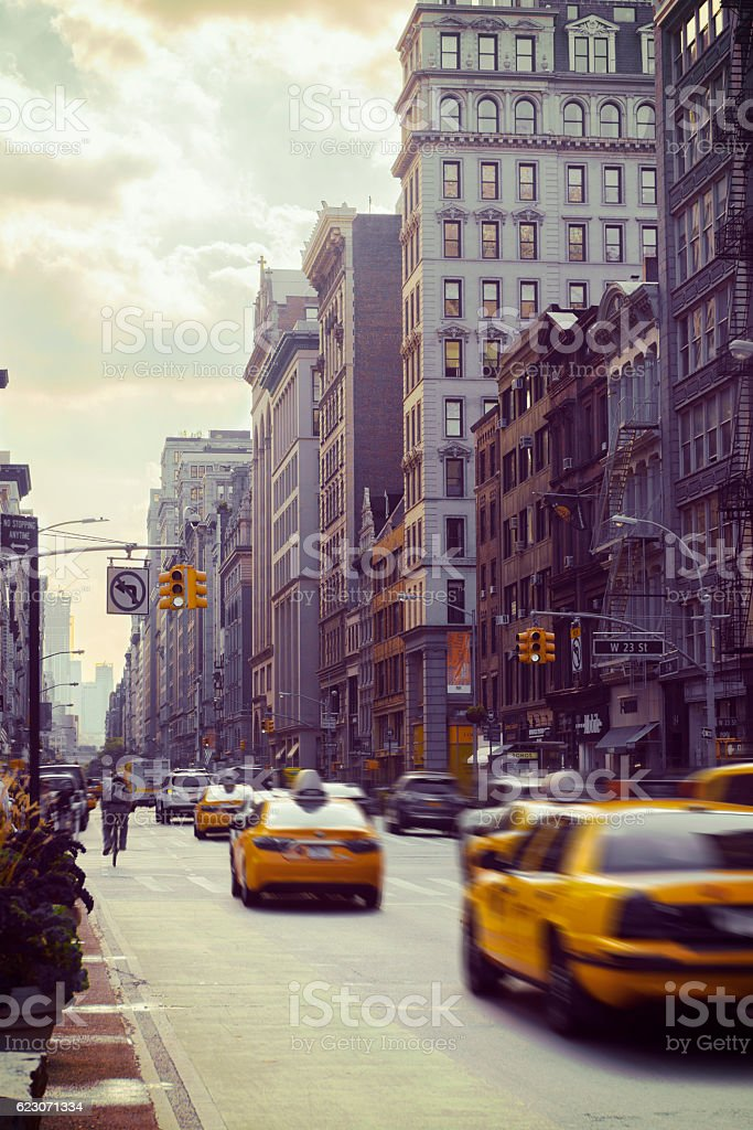Rush Hour on 5th Avenue in New York stock photo