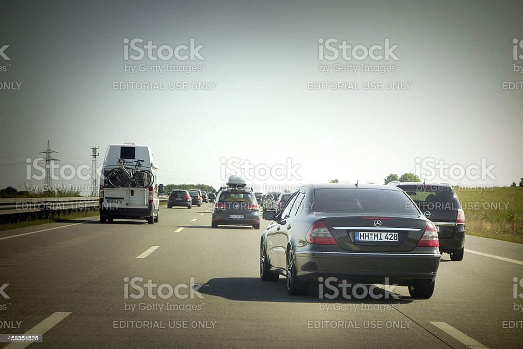 Rush Hour on the Highway A1 Autobahn, Germany stock photo