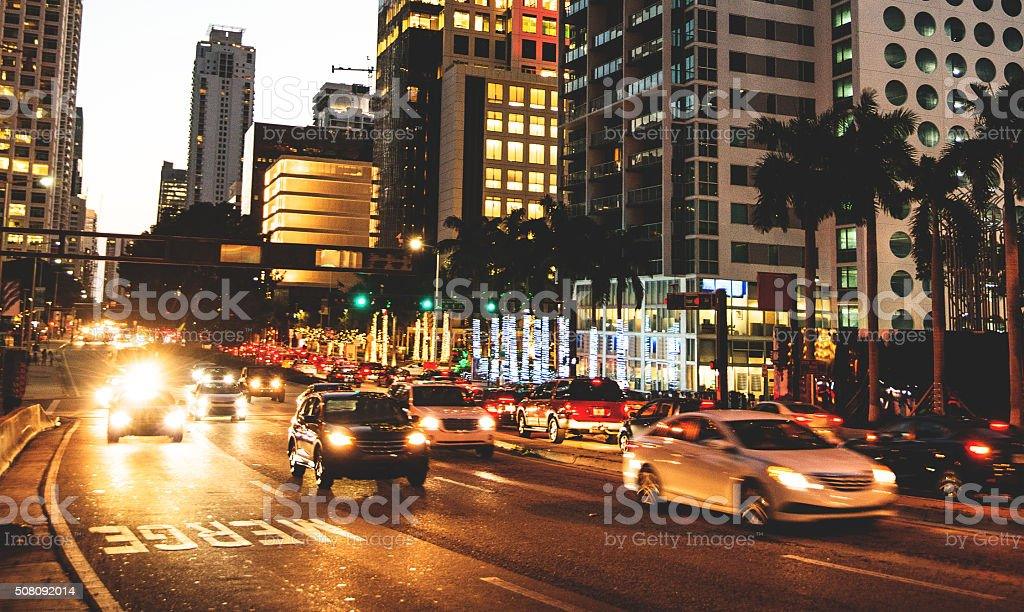 Rush hour on the Miami downtown at dusk stock photo
