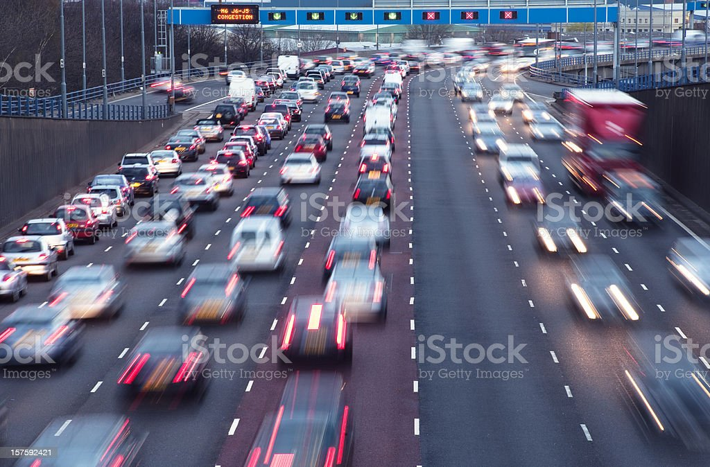 Rush hour on urban motorway Birmingham UK stock photo