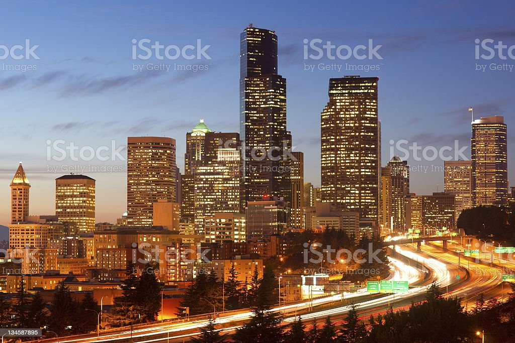 Rush Hour Seattle Office Buildings Super Highway at Dusk stock photo