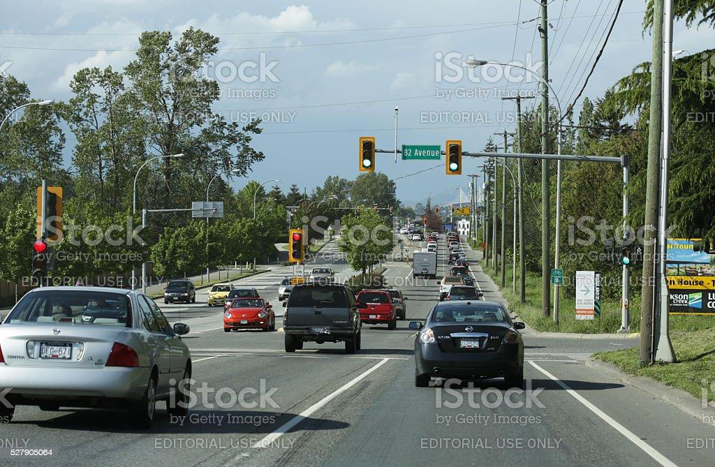 Rush Hour Traffic, 200 Street, Langley, British  Columbia, Canada stock photo