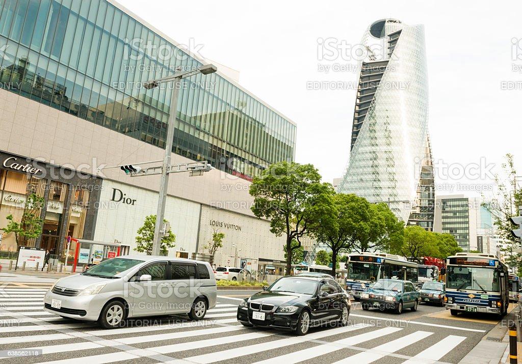 Rush Hour Traffic Driving Nagoya Japan Urban City Street stock photo