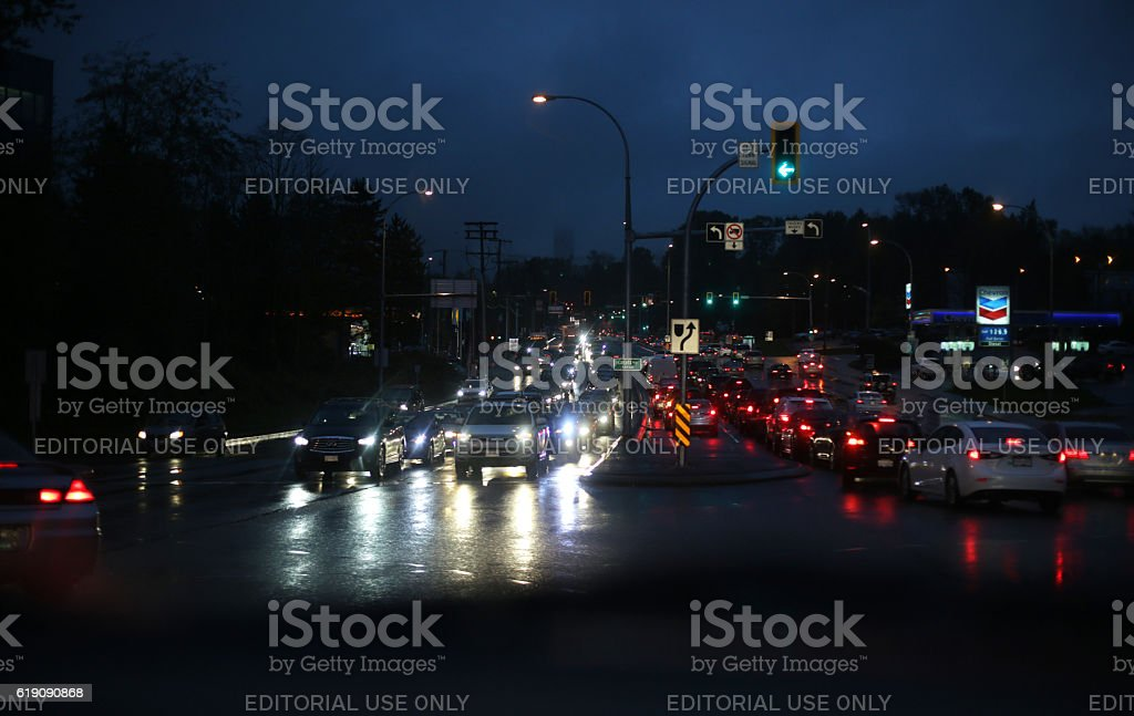 Rush Hour Traffic in the Rain, Willingdon Avenue, Burnaby, Canada stock photo