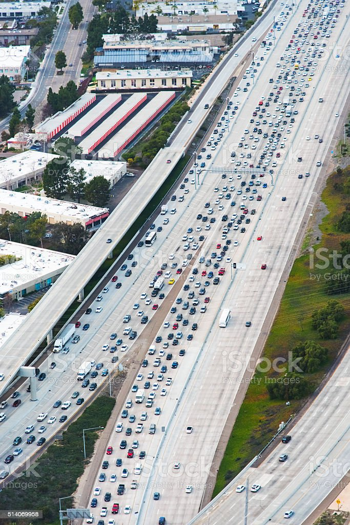 Rush Hour Traffic Jam on a Southern California Freeway stock photo