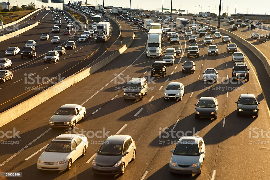 Rush hour traffic jam on the freeway stock photo