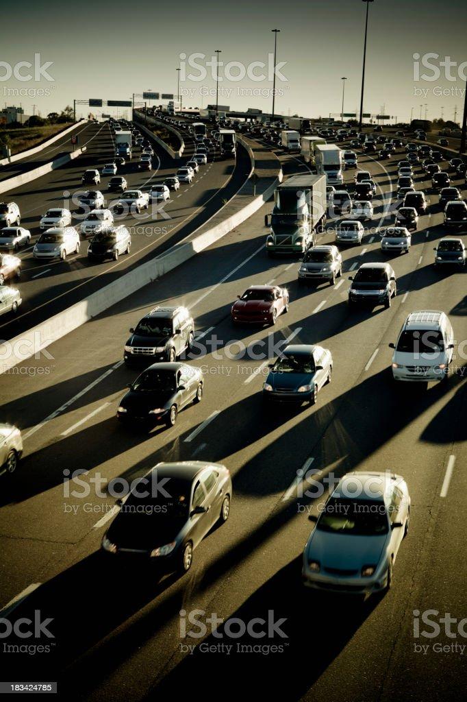 Rush hour traffic jam on the freeway royalty-free stock photo