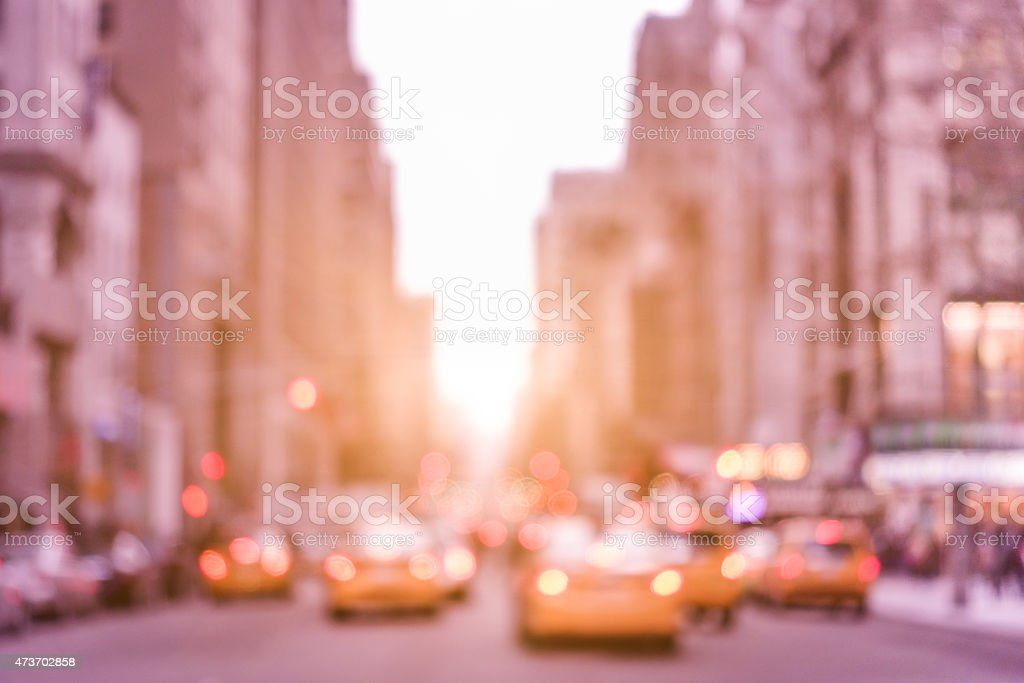 Rush hour traffic jam with defocused taxicabs in New York stock photo