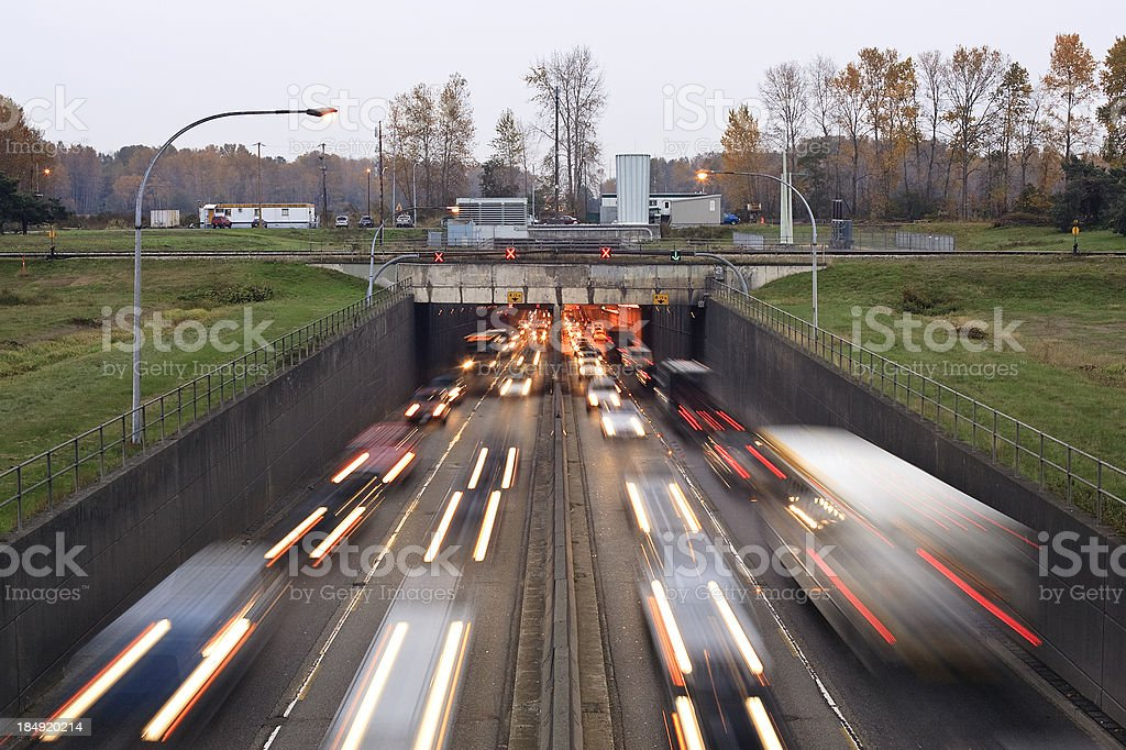 Rush hour traffic moving through the Massey Tunnel in Vancouver stock photo