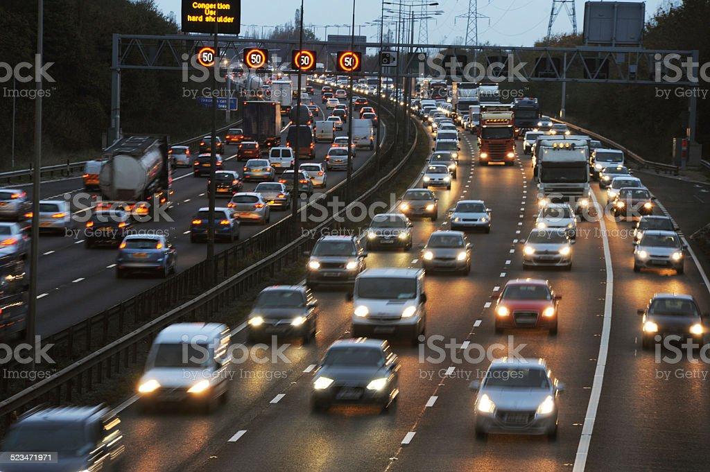 Rush Hour Traffic on the M6 Motorway stock photo