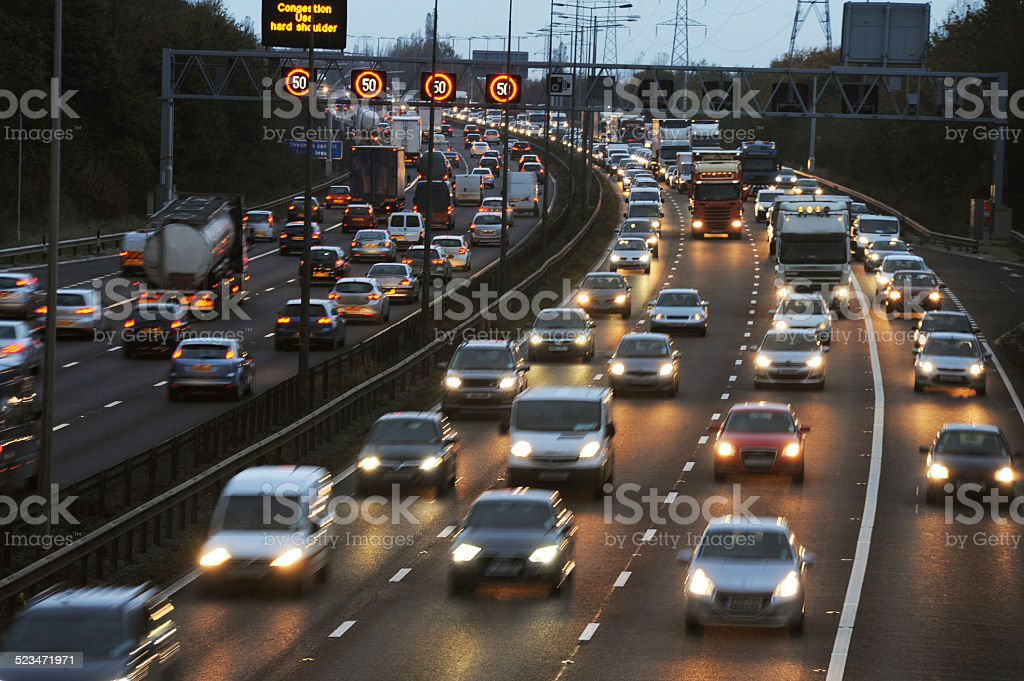 Rush Hour Traffic on the M6 Motorway stock photo