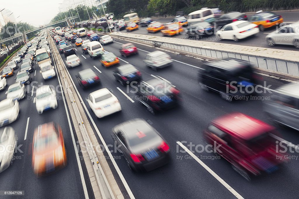 Rush hour traffic stock photo